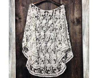 f3ea9fe8b02f3b BOULEVARD - Boho Lace Top, Bohemian Sheer Lace Top, Delicate Pure White  Ibiza Top, Hippie Swim Suit Cover Up, Adlib Ibiza Fashion