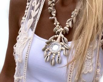 Boho Bohemian Necklace Multi Layers Necklace SEASHELL Ethnic Summer Chocker Ibiza Hippie Necklace