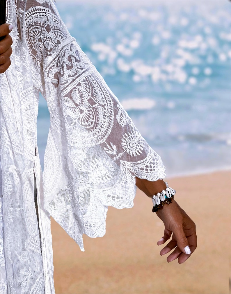 BOHEME Festival Bohemian Ibiza Kaftan Summer Boho Embroidery Tunic Cotton White and Natural Beach Clothes