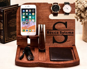 Personalized Gift For Menhusband Birthday Giftdocking Station Menwooden Docking Stationdocking Stationcharging Stationtech Giftgifts