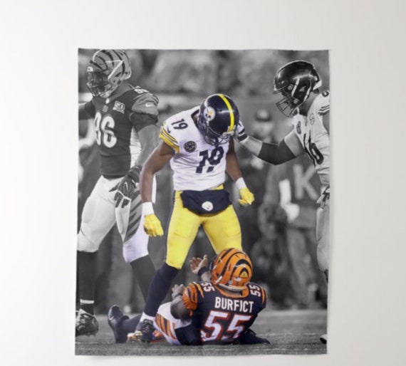cheaper 36148 564e0 JuJu Smith-Schuster | Pittsburgh Steelers NFL | Revenge Hit on Burfict |  Canvas/Poster/Flag Art Print