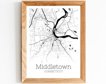Connecticut river wall art Middletown Connecticut map art CT gifts housewarming gift New England realtor closing gift