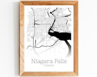 Niagara Falls map Map of Niagara Falls Old city plan print on paper or canvas