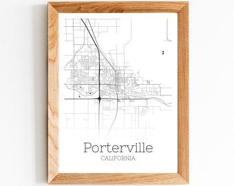 Porterville map art | Etsy