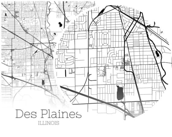 Des Plaines Map, INSTANT DOWNLOAD Des Plaines Illinois City Map Printable -  Des Plaines IL Wall Art - Digital Print Files M611