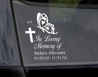 In Loving Memory Car Decal Butterfly, Custom In Memory of Butterfly Sticker, Remembrance Decal,  In Memory of Mom, In Memory of Dad