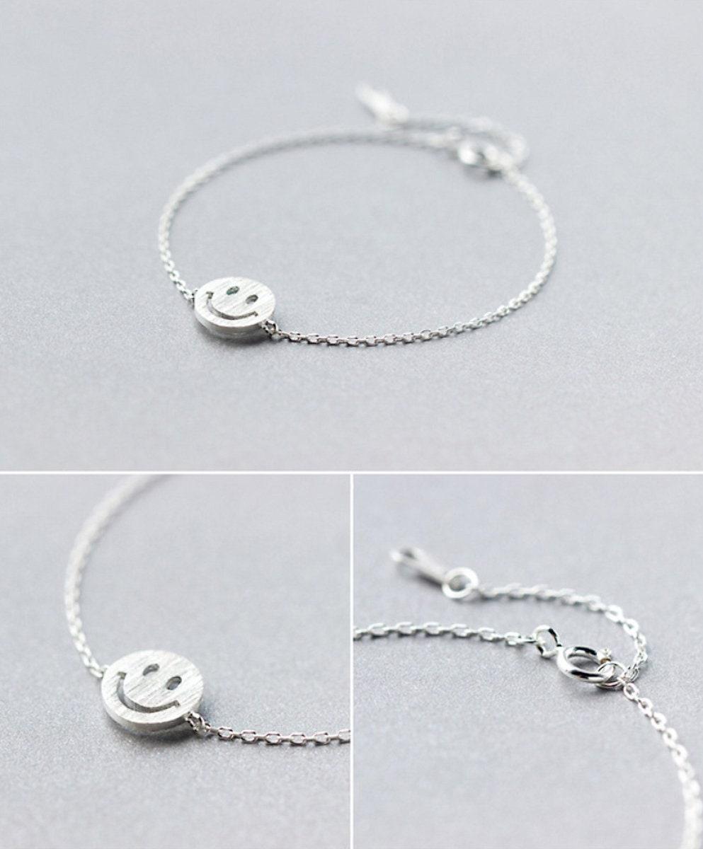 3f33247c1617b Smile Emoji Sterling Silver Bracelet, Smiley Face Bracelet, Smiley ...