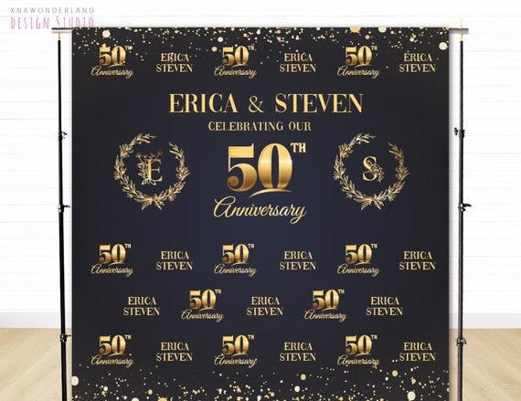 Gold Confetti Backdrop 50th Anniversary Photo Backdrop Golden Anniversary Backdrop Personalized Step /& Repeat Backdrop Wedding Backdrop