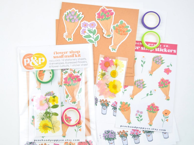 Flower Shop Snail Mail Letter Writing Set Pen Pal Kit Floral image 0