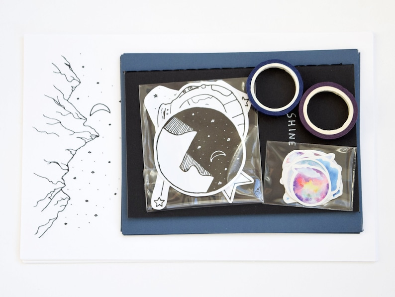 Space Snail Mail Letter Writing Set Pen Pal Kit Stationery image 0