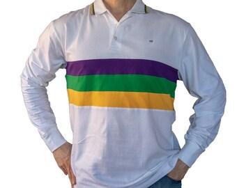 8e41a6a14 Mardi Gras Three Striped White Long Sleeve Polo Shirt
