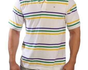 ed09a3507 Mardi Gras Thin Striped White Short Sleeve Polo Shirt. Porees