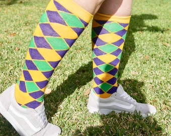 39341b7cf Mardi Gras Harlequin Gold Knee Socks