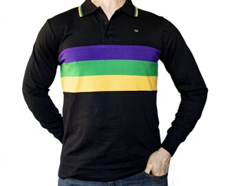 702445741 Mardi Gras Kids Three Striped Black Long Sleeve Polo Shirt