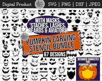 Pumpkin Stencil Svg Etsy