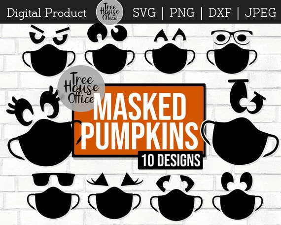 Pumpkin With Mask SVG Masked Pumpkin Jack O Lantern Faces