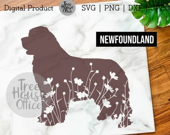 Newfoundland SVG, DXF PNG jpeg, Newfoundland Dog Mandala Zentangle, Newfie Dog Silhouette svg, Newfoundland with Flowers, Owner Lover png