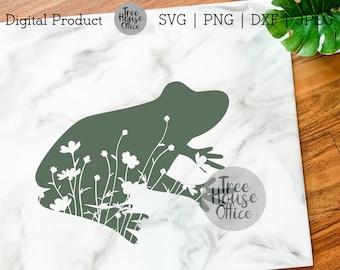 Floral Frog SVG/DXF/PNG/jpeg | Animal Clip Art | Frog Mandala Svg | Animal Silhouette Mandela | Frog Flowers | Wildlflower Frog Zentangle