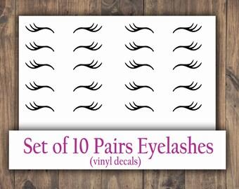 Unicorn Eyelashes Sparkle Vinyl Decal Stickers Set eye lashes Design No.3