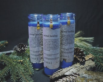 """animal healing [ l ä k a ] 8"""" intention candle - enhanced with organic croatian chamomile and olive oil infusion"""