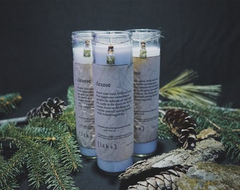 """cleanse [ l ä k a ] 8"""" intention candle - enhanced with wild harvested white sage and olive oil infusion"""