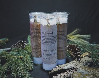 """lost + found [ l ä k a ] 8"""" intention candle - enhanced with organic turkish rosemary"""