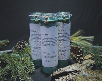 """fortune [ l ä k a ] 8"""" intention candle - enhanced with organic indian holy basil and olive oil infusion"""