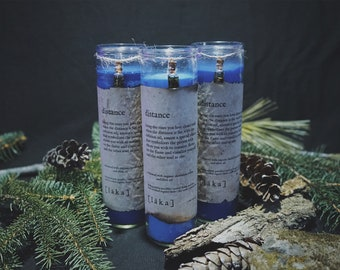 """distance [ l ä k a ] 8"""" intention candle - enhanced with organic dandelion leaf and olive oil infusion"""