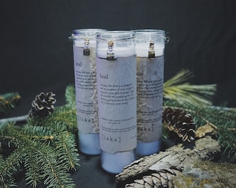 """heal [ l ä k a ] 8"""" intention candle - enhanced with organic indian holy basil and olive oil infusion"""