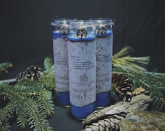 """blue [ l ä k a ] definition 8"""" candle - enhanced with organic indian holy basil and tree of life charm"""