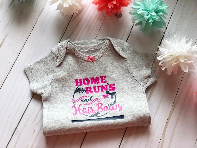Home Run /& Hair Bows Baseball Girls One Piece Bodysuit Baseball Baby Gear Batter Up Baseball Lover Baby Shower Gift