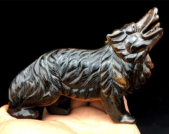 Hand carved suar wood howling wolf sculpture from bali howling