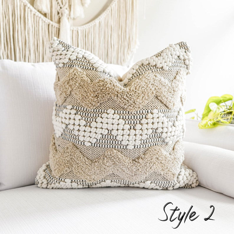 20x20 tufted textured cushion cover decorative pillow beige boho pillow cover