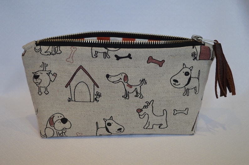 Dog Puppy zipper pouch pencil case makeup bag with leather tassel