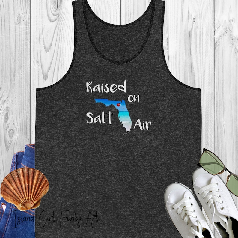 Florida Tank top shirt. Raised on Salt Air Florida shirt for Charcoal-Black/Solid Black Tri
