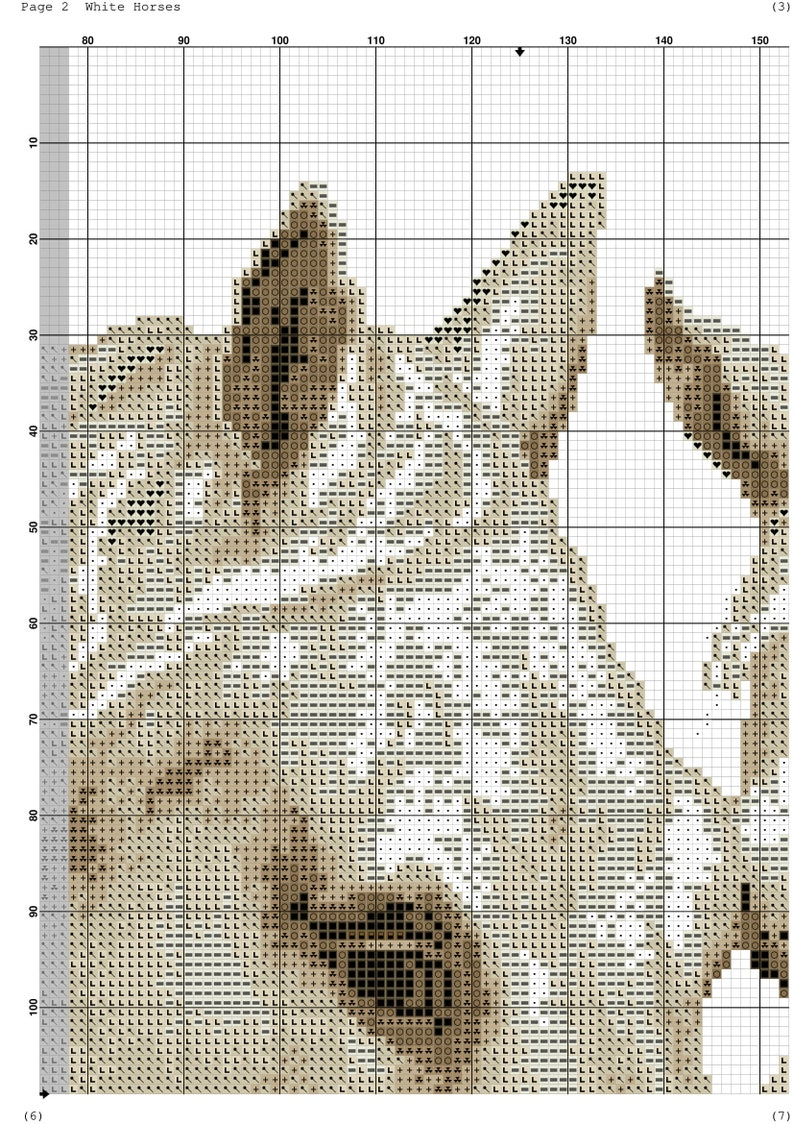 Digital Hand Embroidery Pattern #05030 Black White Pattern Best Gift White Horses Instant Download PDF Color Pattern