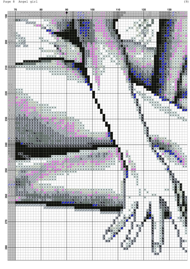 Best Gift Angel Girl Color Pattern Digital Hand Embroidery Pattern #01040 Black White Pattern Instant Download PDF