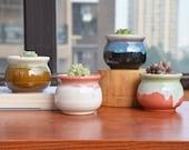 Set of 4 Flowing Glaze Ceramic Succulent Planter Pots,Small Unique Flower Plant Pots with Drainage,Desk Planter Pot,3.35 inch with Grid Pad