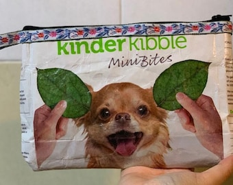 987cc21310 upcycled pouch vegan dog kibbles chihuahua dog lovers purse pencil case  floral ribbon