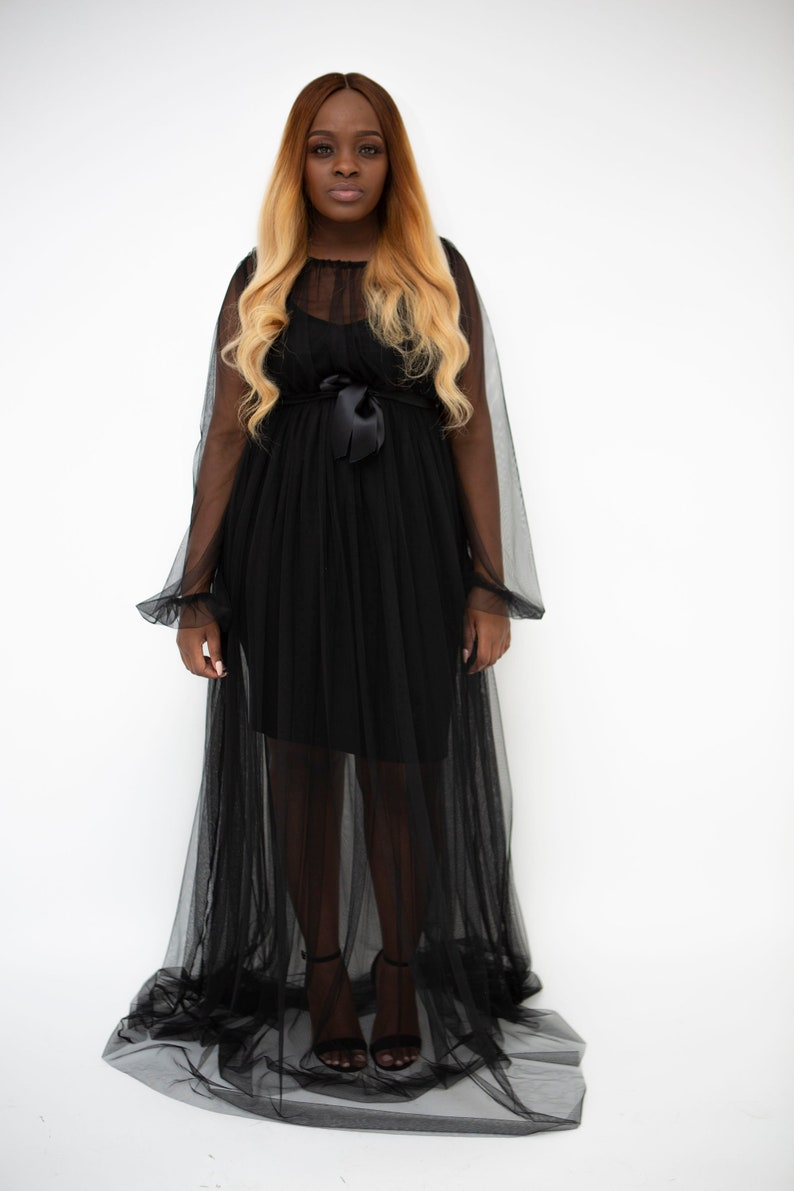 849f378e48 Black sheer Maxi dress