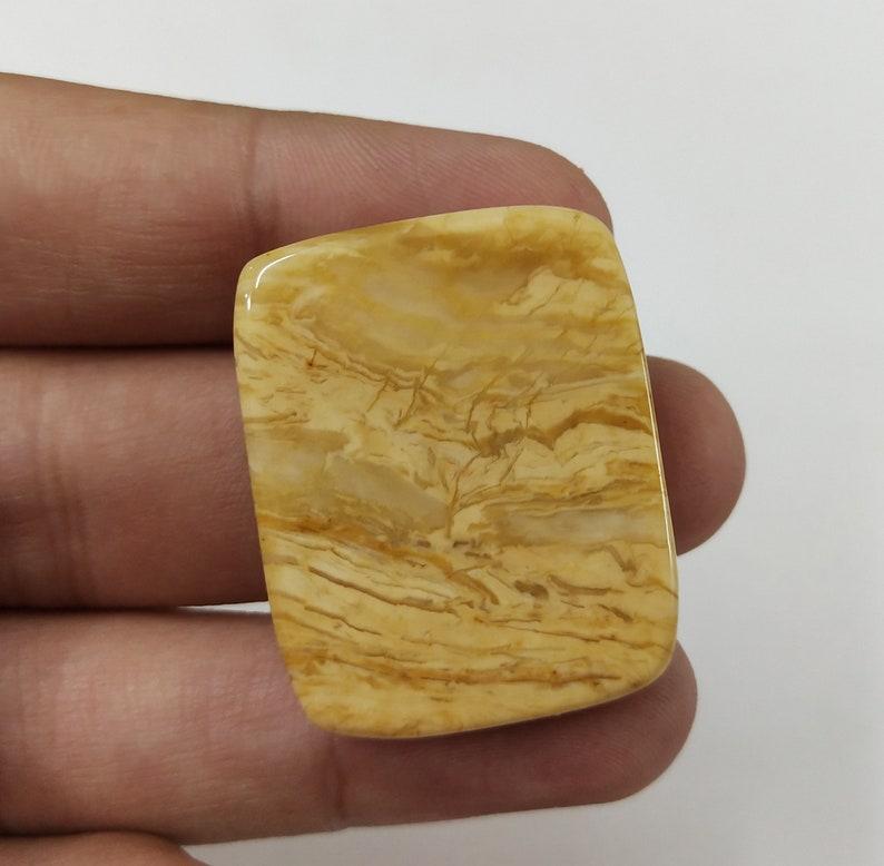 Concentration Power Loose Flatback Rare Cabochon Gemstone for Self Healing 34*27*8 mm Big Cushion Shape Brown Jasper Gemstone
