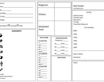 photo regarding Printable Nurse Report Sheets named Nurse post sheet Etsy