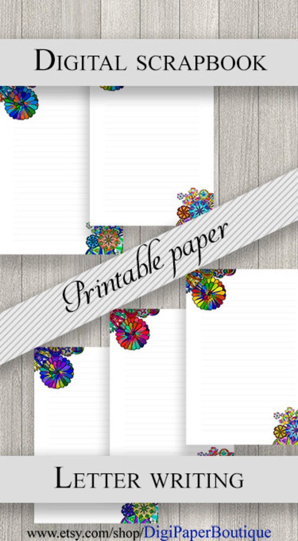 Printable lined paper A4 / US Letter  Mandala Pen pal paper kit  Printable  stationery