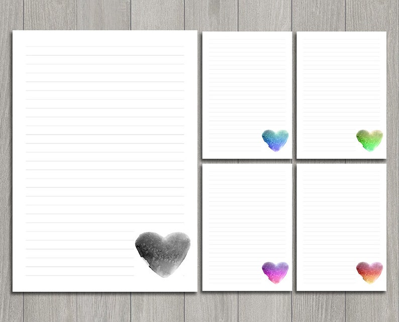 image regarding Printable Love Note called Printable Appreciate letter composing established for Valentines working day. Electronic be aware paper. Watercolor middle style