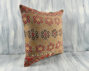 Kilim Cushion Cover A1448 Decorative Throw Pillow 18x18 Pillow Cover Bohemian Kilim Pillow Handmade Kilim Lumbar Sofa Aztec Pillow