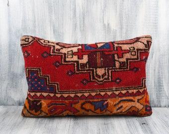 No 3347 16x24 pillow cover Kilim Pillow Rectangle Kilim Pillow Lumbar Pillow Sofa decor Purple Turkish Pillow Outdoor Vintage Pillow