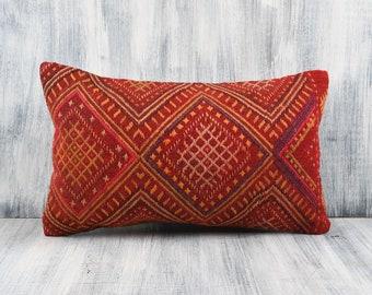 Kilim Pillow,Lumbar Pillow,Kilim Lumbar Pillow,Turkish Pillow,Cushion Cover,Kilim Pillow 12 x 20,Striped Pillow Cover SP3050 2868