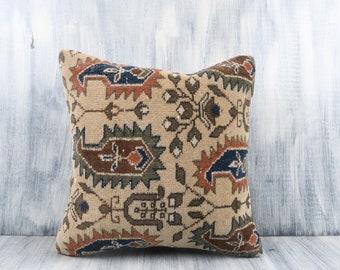 Floor Cushion Cover Beeding Decorative Throw Pillow Handmade Sham Cover Anatolian Boho Pillow 24x24 Pillow Cover Bohemian Kilim Pillow