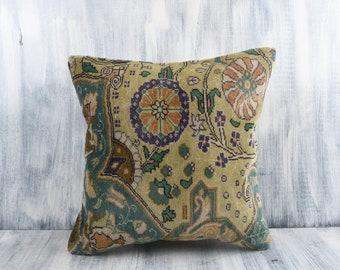 Handwoven Turkish Kilim Pillow Decorative Throw Pillow Aztec Pillow Cushion Cover Boho Pillow Ethnic Kilim Pillow 16x16 Kilim Pillow