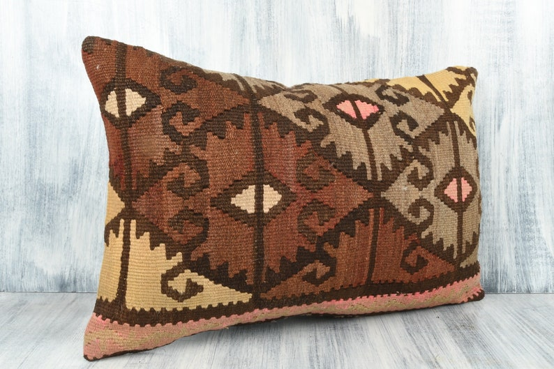 Boho Accent Kilim Pillow Handmade Kilim Cushion Cover Vintage Kilim Pillow 16x24 Pillow Case Sofa Throw Pillow Bohemian Kilim Lumbar